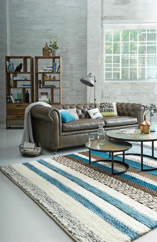 wohnzimmer interieur holländischer stil möbeldesign ledersofa