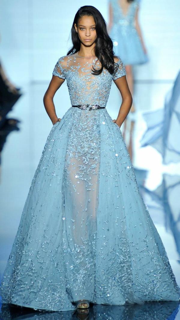 Cocktail Kleider haute couture hellblau dresscode