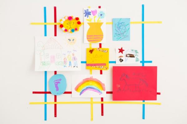 DIY Deko Kinderzeichnungen als wanddekoration benutzen