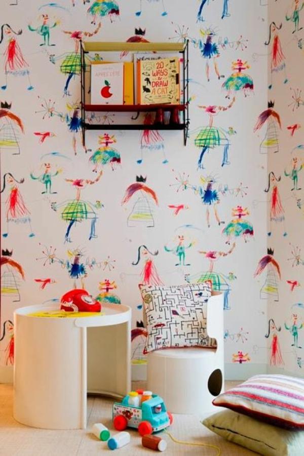 DIY Deko ideen mit Kinderzeichnungen tapetenmuster originell