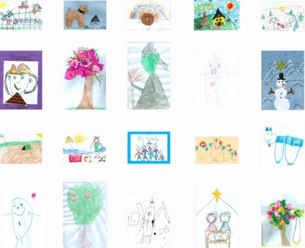 DIY Deko ideen mit Kinderzeichnungen wanddekoration