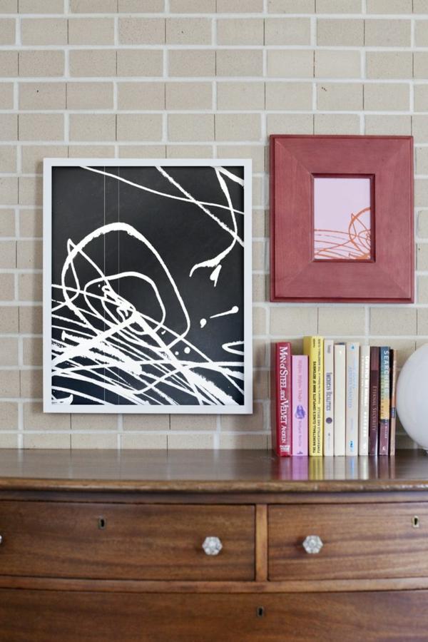 DIY Deko mit Kinderzeichnungen wandgemälde im wohnzimmer