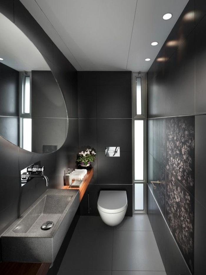 Gäste WC gestalten beton optik badfliesen