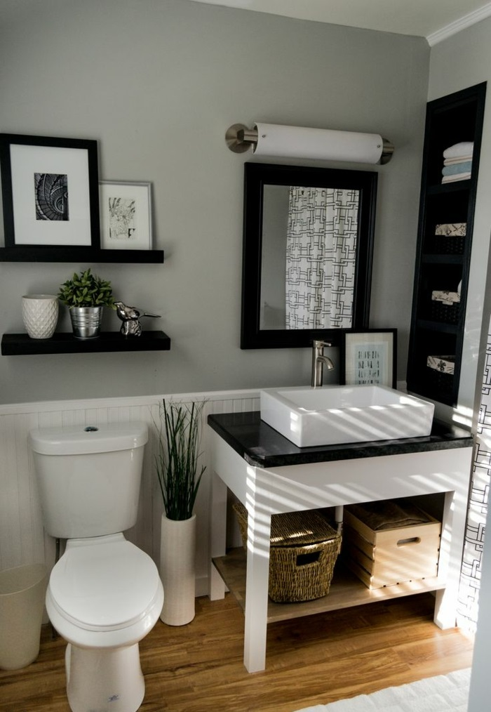 So k nnen sie ein gem tliches g ste wc gestalten for Beige and black bathroom ideas