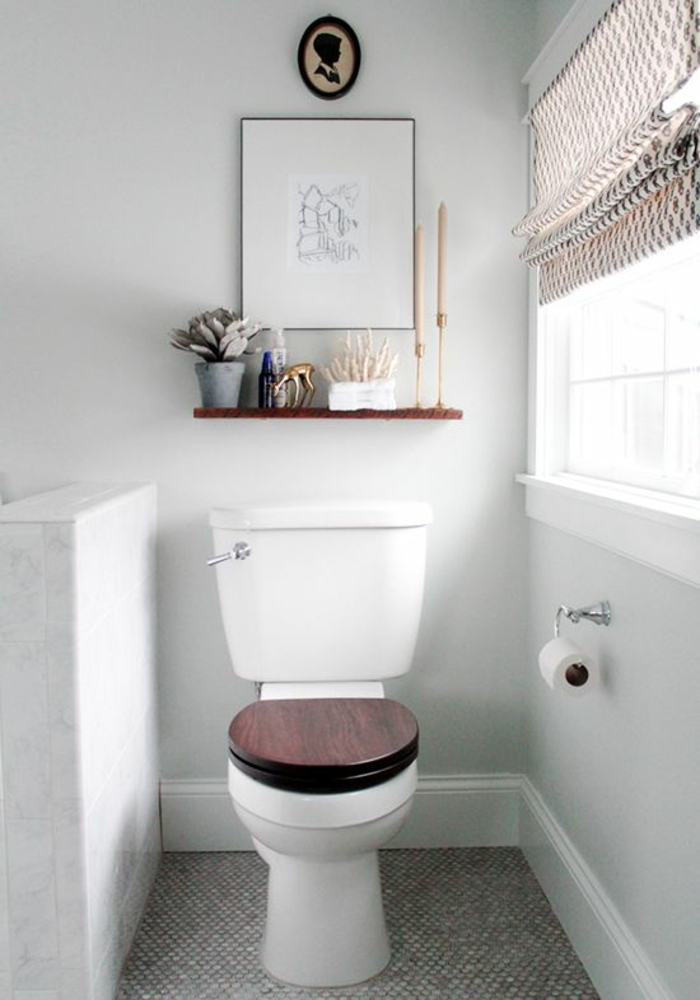 Gäste WC gestalten holzakzente fenster faltrollo