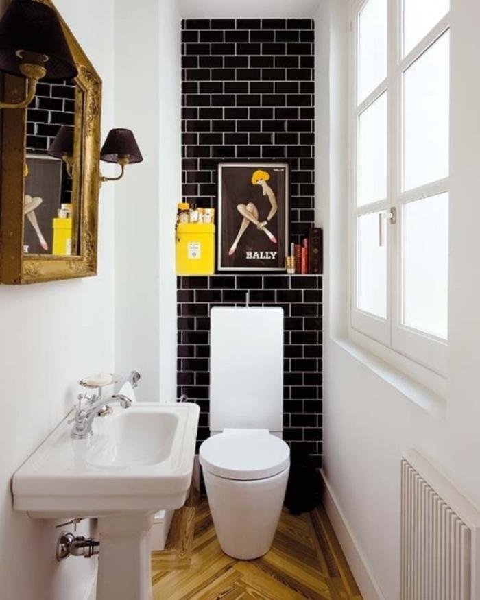 Gäste WC gestalten im retro stil holzboden