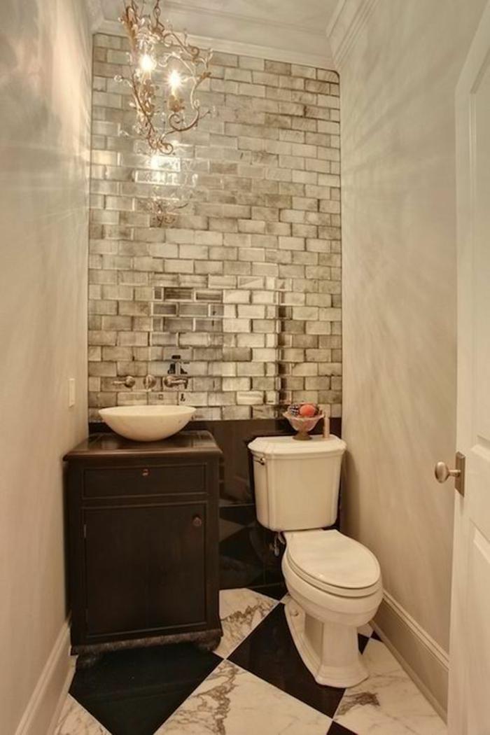 Gäste WC gestalten kleines bad wandfliesen spiegelfläche