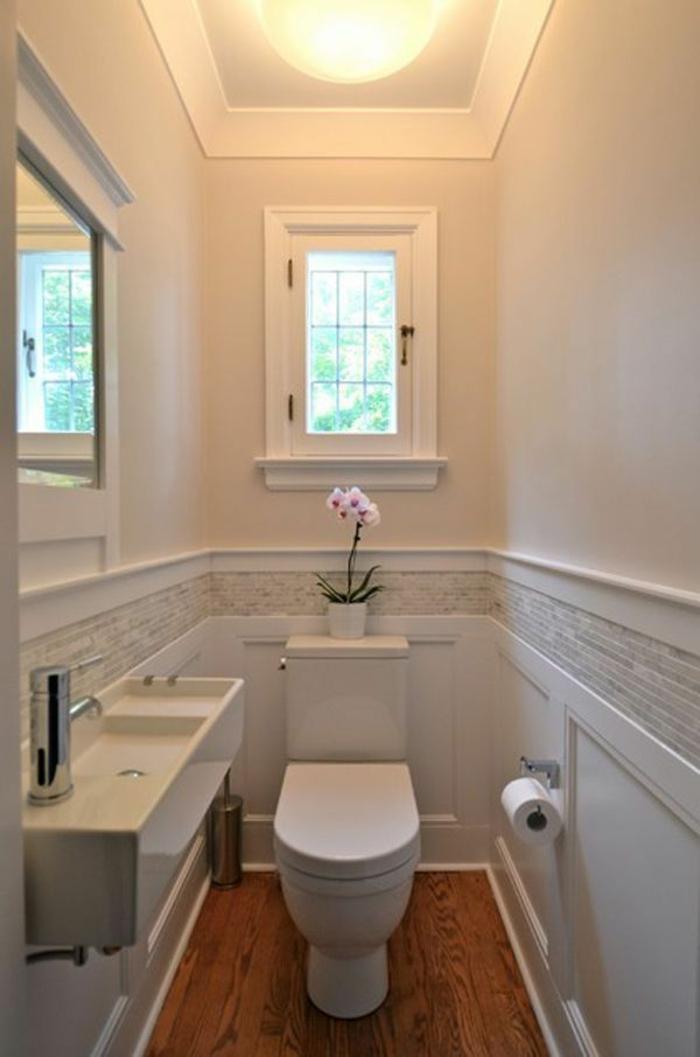 Gäste WC gestalten schlicht dekoriert hell
