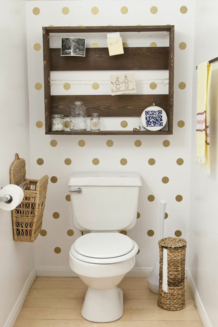 Gäste WC Gestalten Tapetten Muster Rattanmöbel