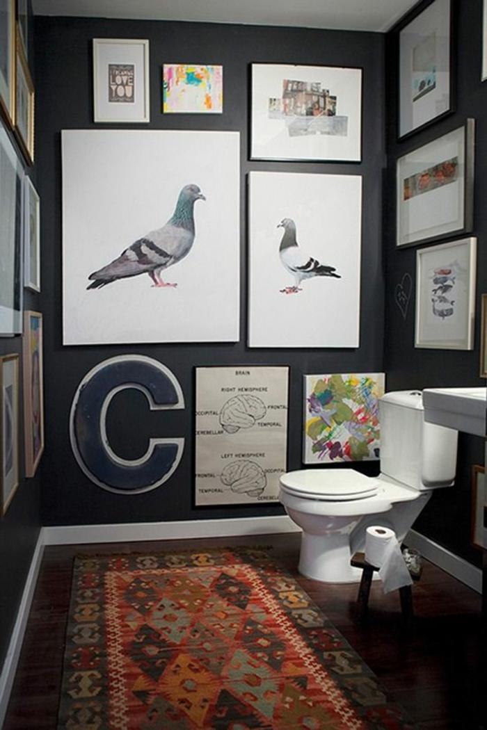 Gäste WC gestalten teppich boden wandgestaltung mit bildern