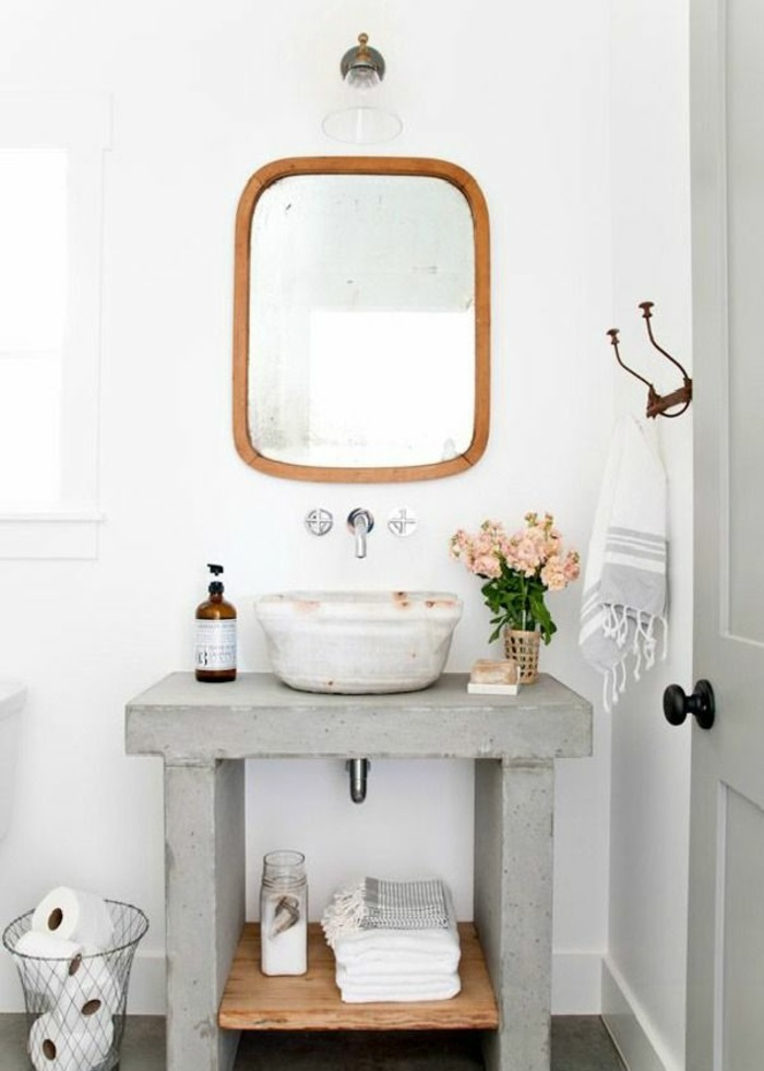 Gäste WC gestalten washbecken beton rustikale einrichtungsideen