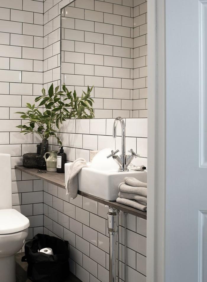 Gäste WC gestalten weiße badfliesen