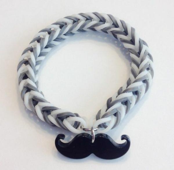 Gummiarmbänder schwarz weiß mit schnurrbart armbänder flechten
