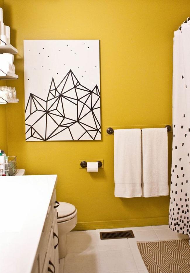 Kleines Bad gestalten kreative wanddeko wandfarbe weiß