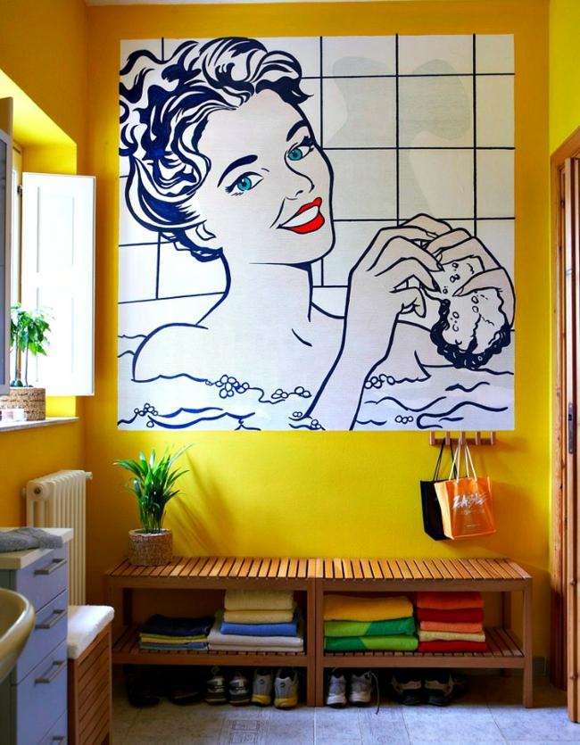 Kleines Bad gestalten kreative wanddekoration im pop art stil