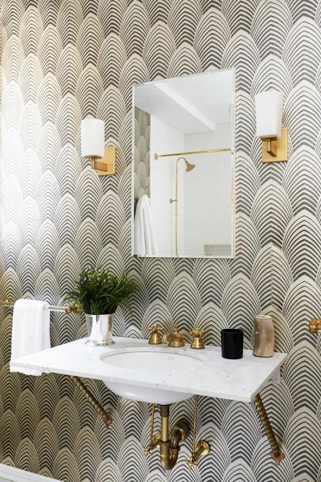 Kleines Bad gestalten kreative wanddekoration mit tapeten