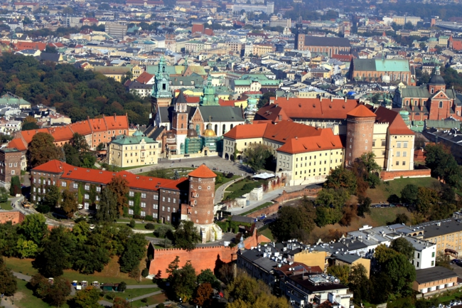 Krakau Polen hauptstadt die alte stadt vogelperspektive