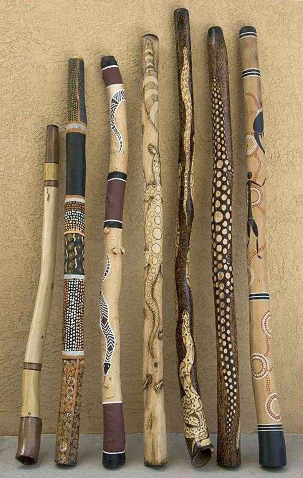 afrika deko dekoartikel holz stöcke bemalen