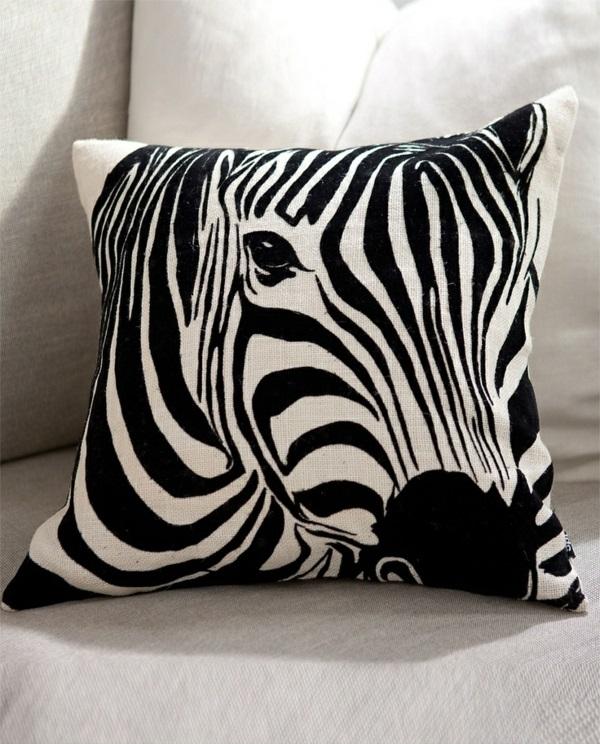 afrika deko kissen zebra muster schwarz weiß