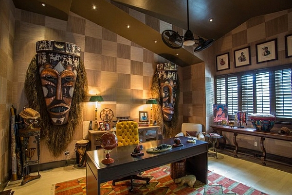 Afrika Deko Wanddeko Mit Afrikanischen Masken Arbeitszimmer
