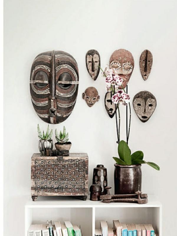 afrika deko wanddekoration ideen masken