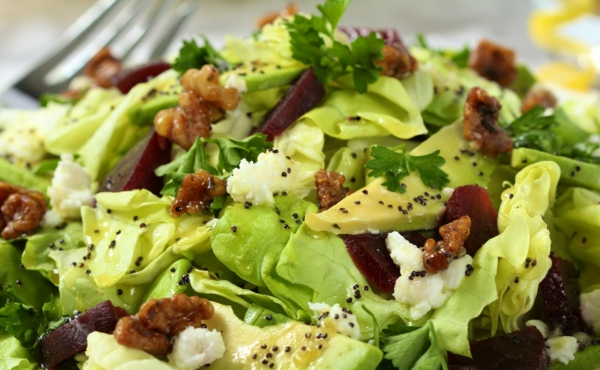 avocado rezepte frischer salat walnüsse senf rote bete