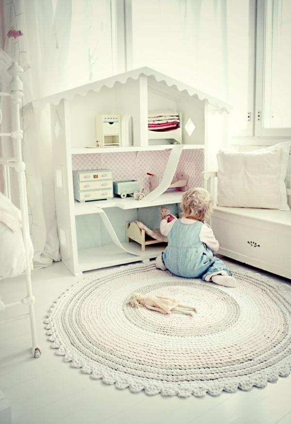 babyzimmer teppich rund gebrochenes weiß