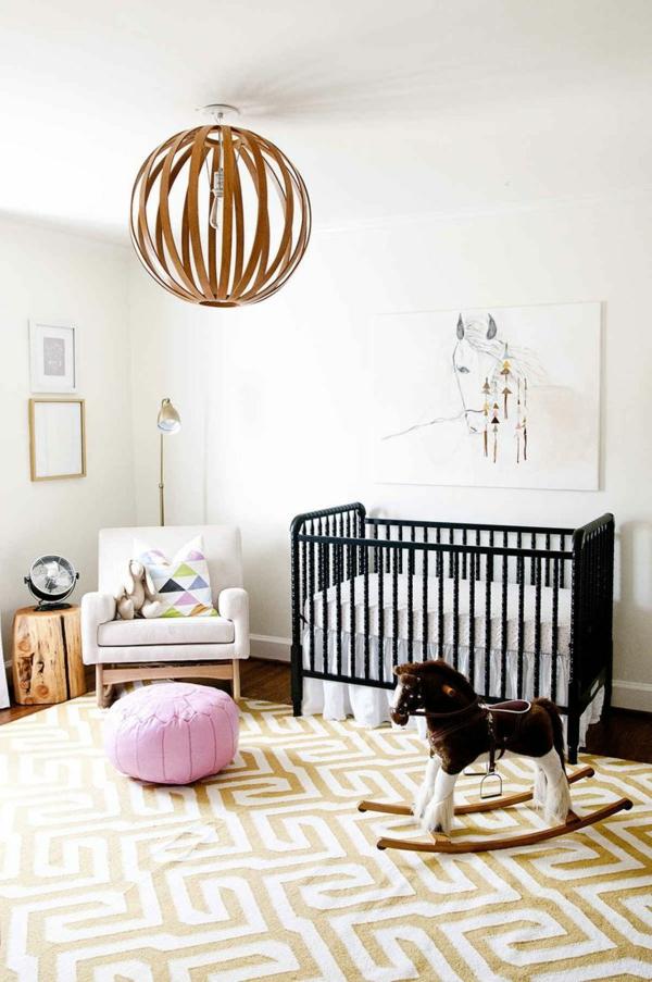 babyzimmer teppich teppichmuster figuren neutrale schattierungen