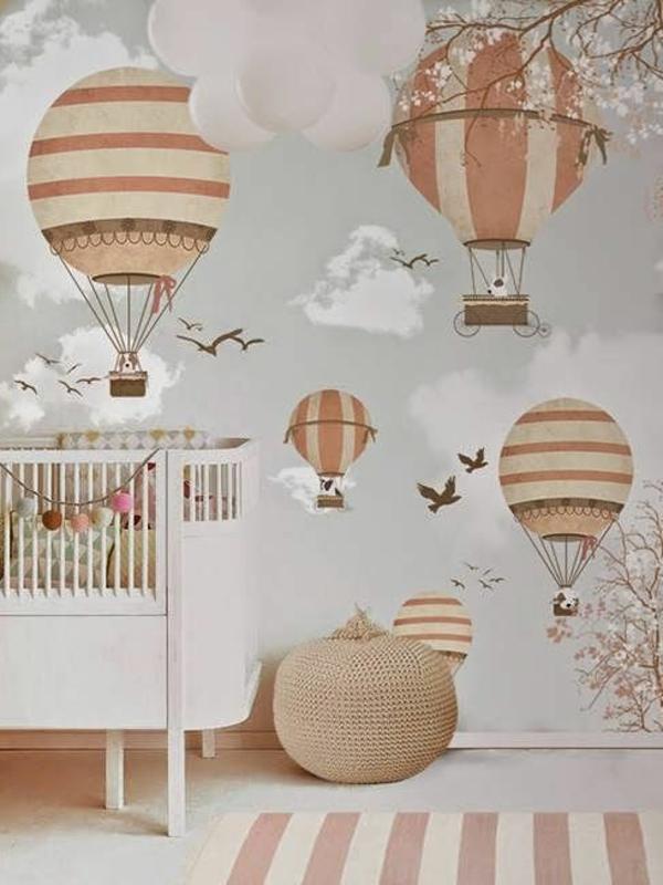 babyzimmer wandgestaltung teppichläufer streifen gitterbett