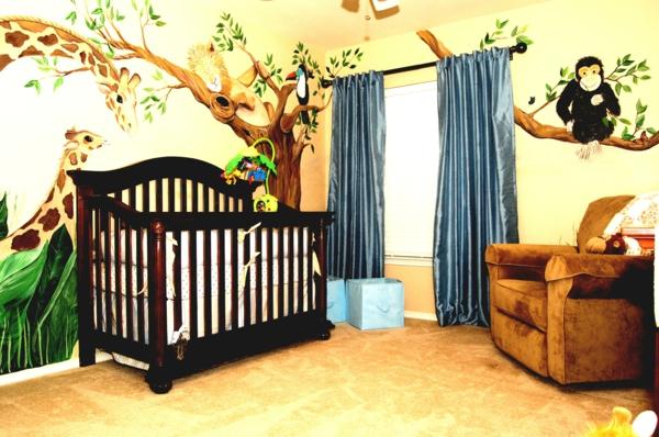 Kinderzimmer wandgestaltung dschungel  Niedliche Babyzimmer Wandgestaltung-Inspirierende Wandgestaltung Ideen