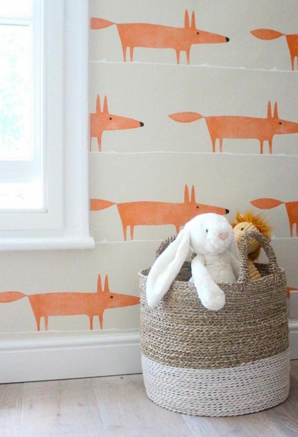 babyzimmer wandgestaltung wandtapete orange füchse