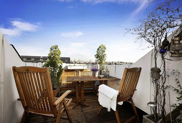 balkongestaltung ideen balkonmöbel pflanzen einbeziehen