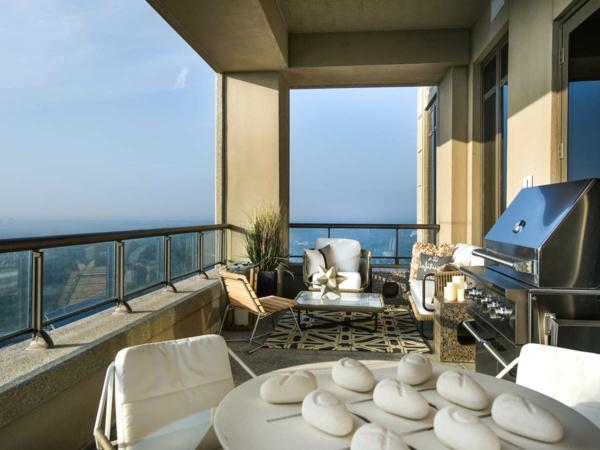 balkongestaltung ideen elegante ausstattung außenmöbel pflanzen