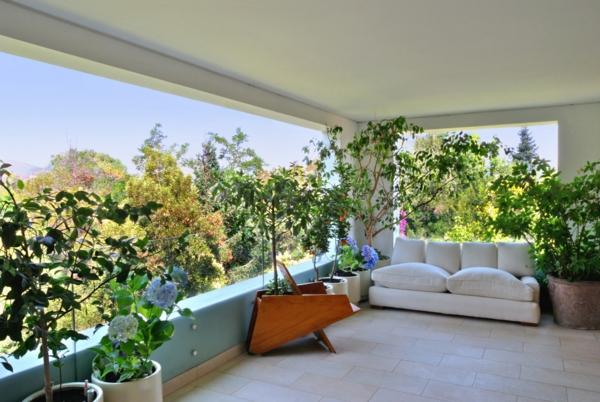 balkongestaltung ideen pflanzen gläsernes geländer