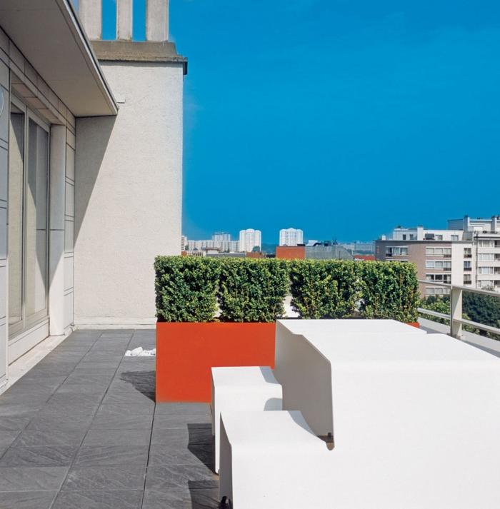 balkongestaltung ideen pflanzen sträuche orange weiß