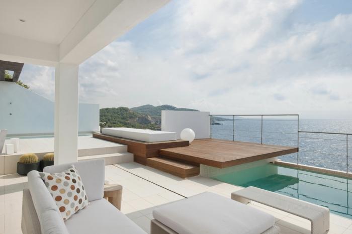 balkongestaltung terrasse elegant gestalten weiß