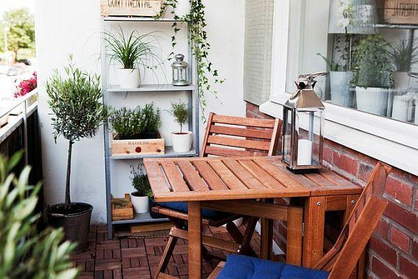 balkongestaltung balkontisch design klappbar praktisch