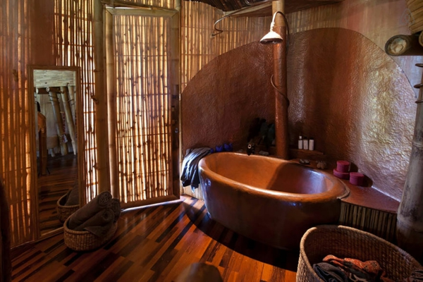 bambus holz badezimmer ovale freistehende badewanne