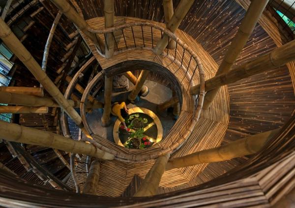 bambus holz treppenhaus spirale
