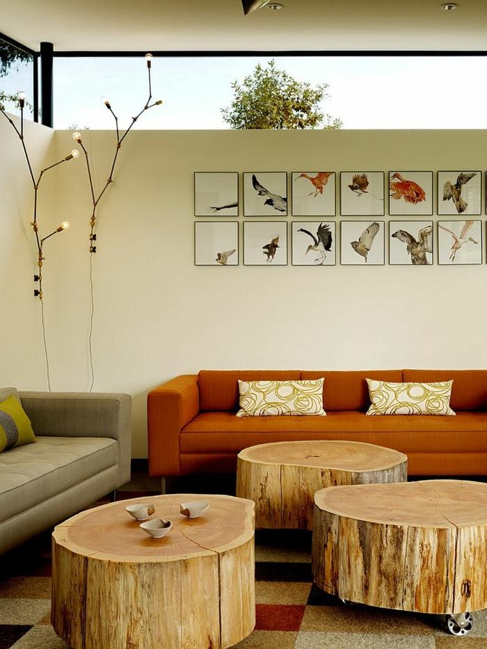 couch tisch auf rollen naturholz holzklotze