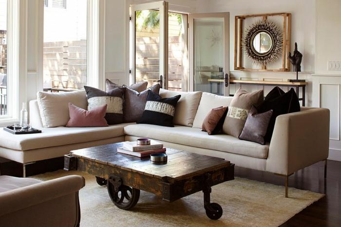 couch tisch auf rollen rustikal schubkarre