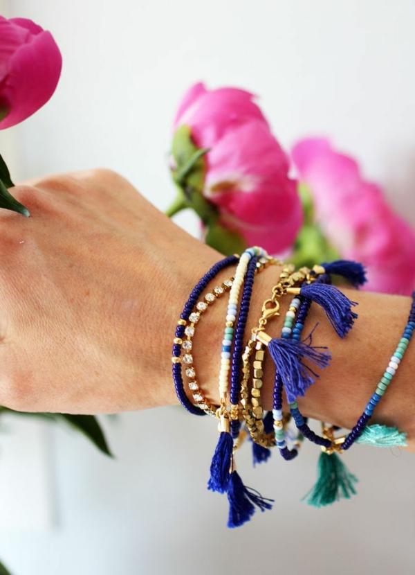 damenarmbänder blau gold schmuck frauen accessoires
