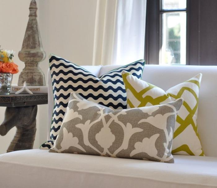 dekokissen diy ideen schöne muster sofa dekorieren
