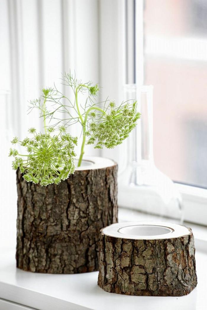 diy möbel holzklotz naturholz vase windlicht