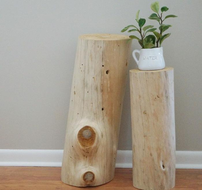 diy möbel holzklotze naturholz blumenständer