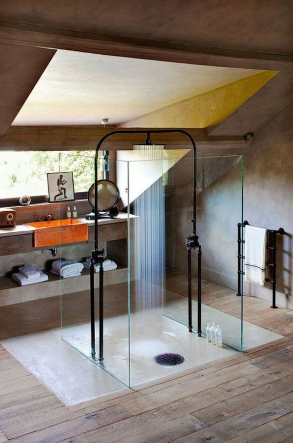 dusche renovieren schwarz badezimmerarmatur modern regendusche
