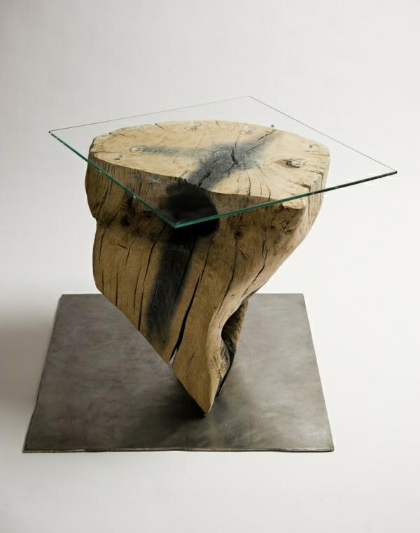echtholzmöbel beistelltisch Baumstamm tisch