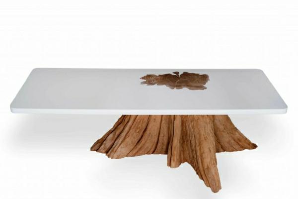 echtholzmöbel couchtisch naturholz weiß Baumstamm tisch