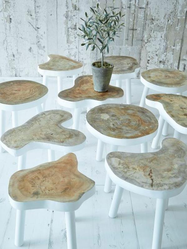 echtholzmöbel naturholz weiß Baumstamm tisch