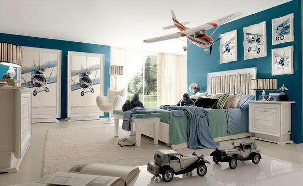 einrichtungsideen kinderzimmer geräumiges interieur blaue akzentwand